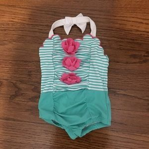 Janie and Jack swimsuit 6-12 months green white
